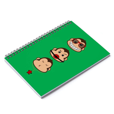 """The 3 Monkeys"" Green Spiral Notebook - Ruled Line - Awesome, custom designed T-shirts & Art  