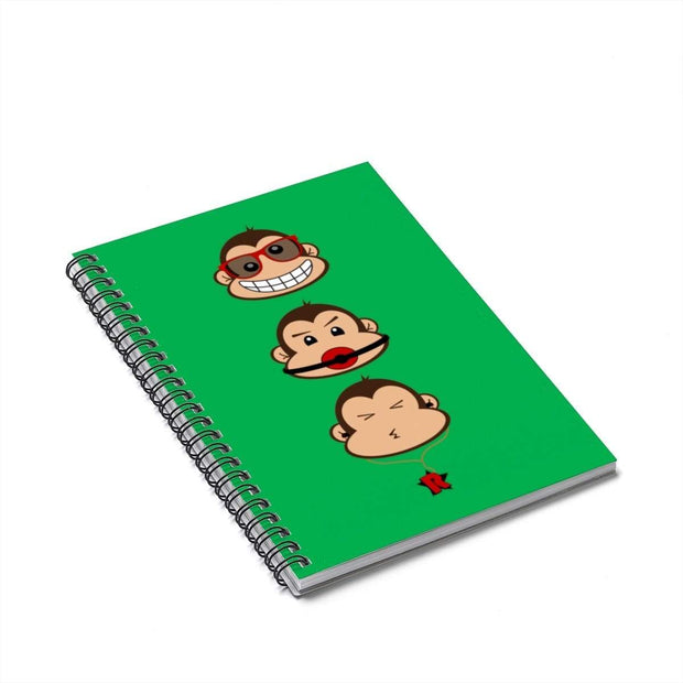 """The 3 Monkeys"" Green Spiral Notebook - Ruled Line - Designs by Royi .B."