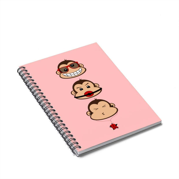 """The 3 Monkeys"" Pink Spiral Notebook - Ruled Line - Designs by Royi .B."