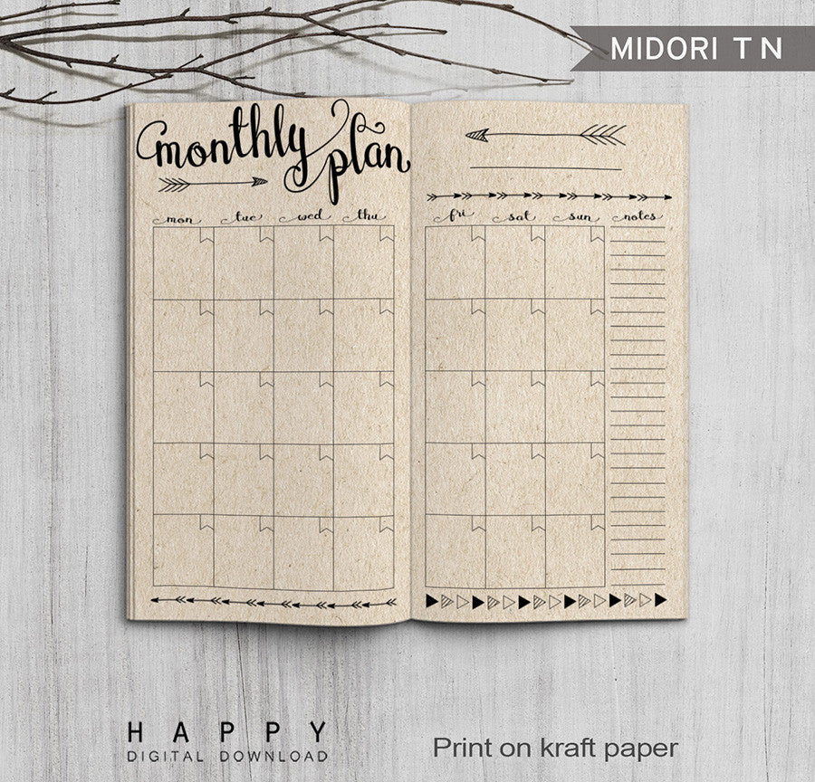 photograph relating to Free Printable Traveler's Notebook Inserts titled Printable Holidaymakers Laptop computer Month to month Add - Regular monthly TN - Arrow