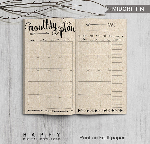 Printable Traveler's Notebook Monthly Insert - Regular TN ...