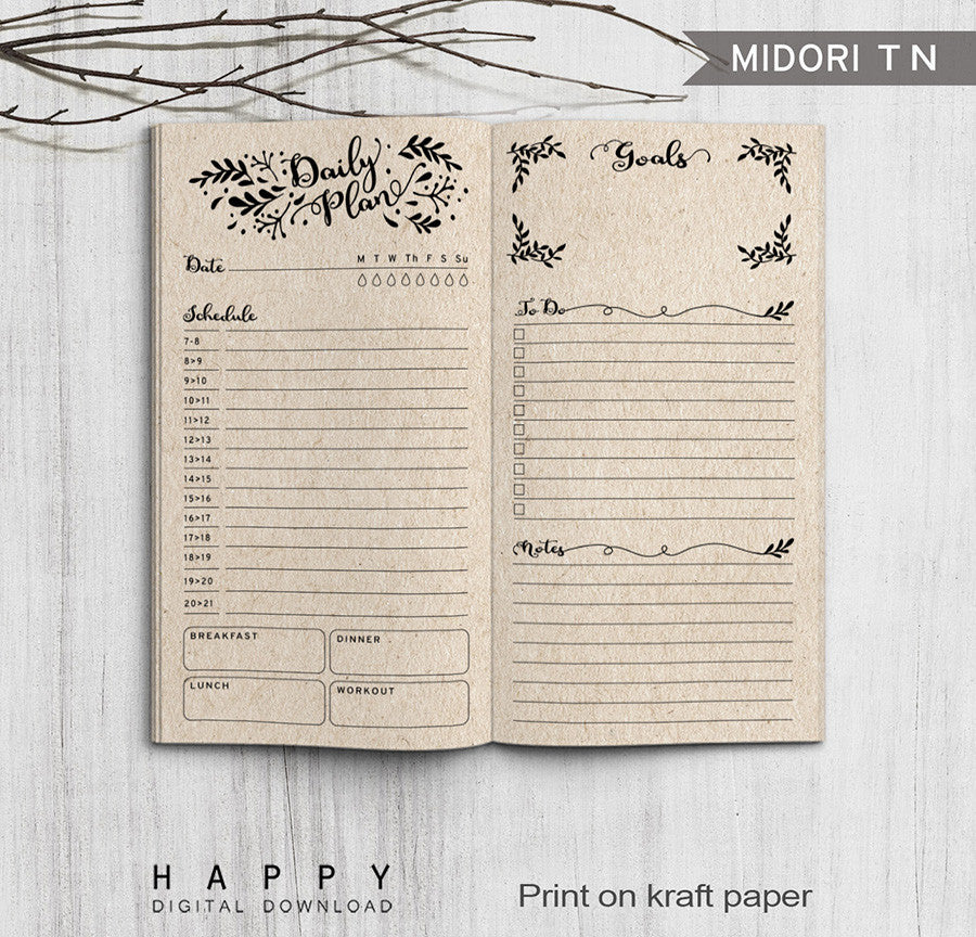 Printable Traveler's Notebook Daily Insert - Regular TN