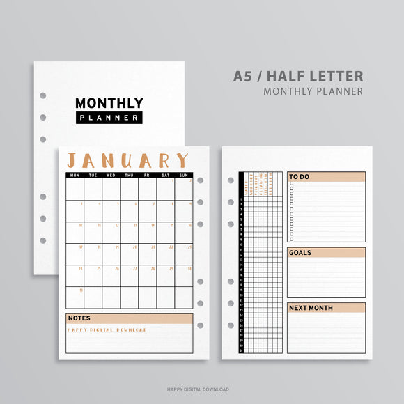 Printable A5 Planner Monthly Insert, A5 Binder - Minimalist