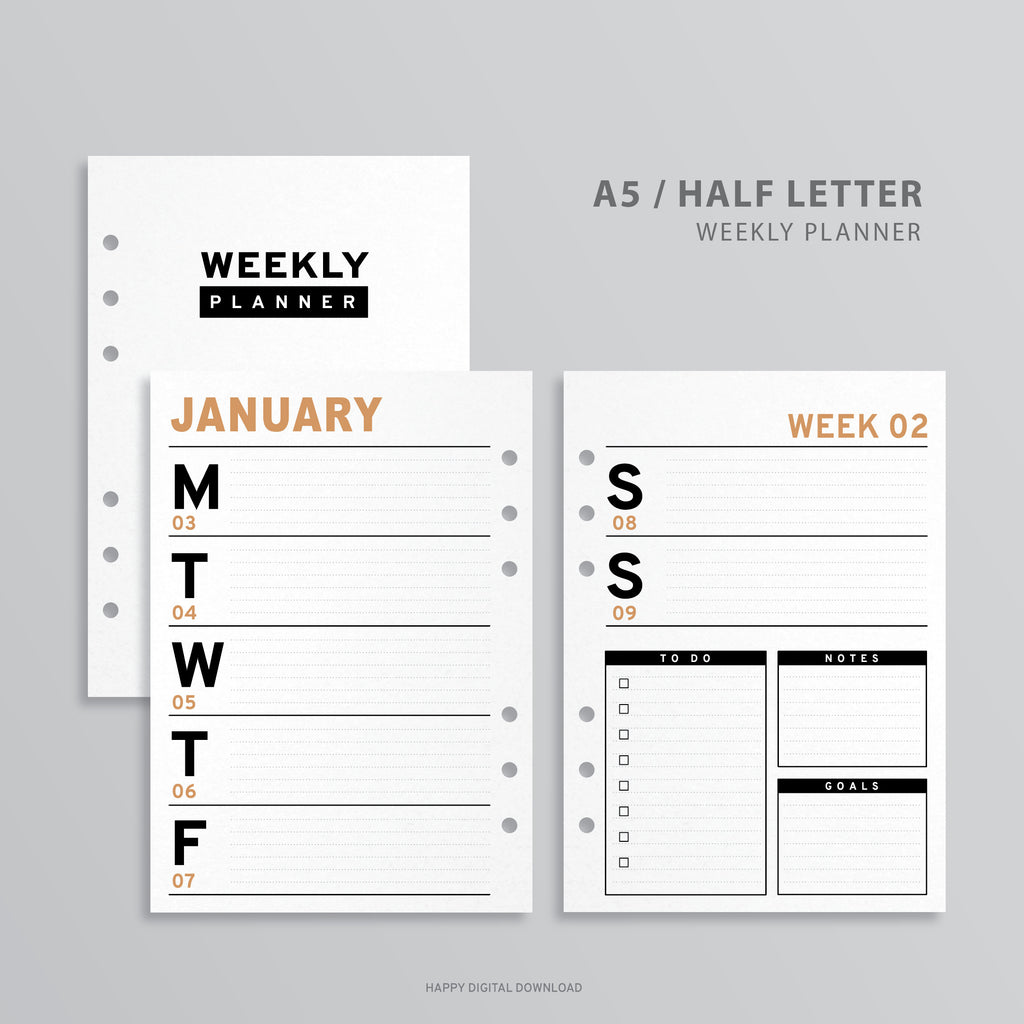 Printable A5 Planner Weekly Insert, A5 Binder - Minimalist