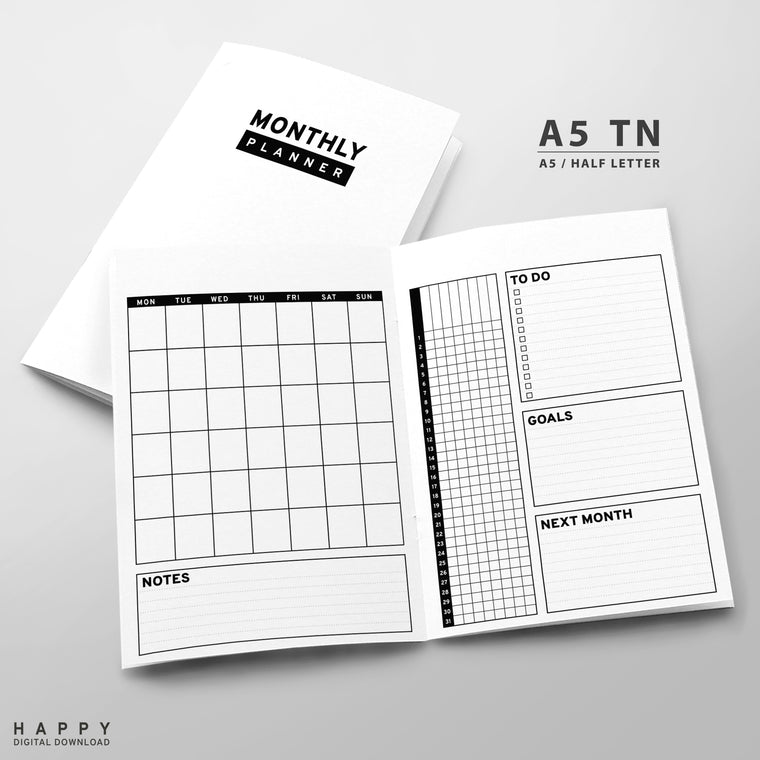 Printable Traveler's Notebook Monthly Insert - A5 TN - Minimalist