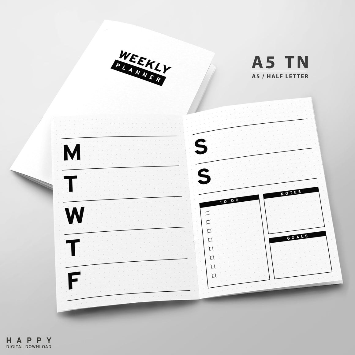 Printable Traveler's Notebook Weekly Insert - A5 TN - Minimalist