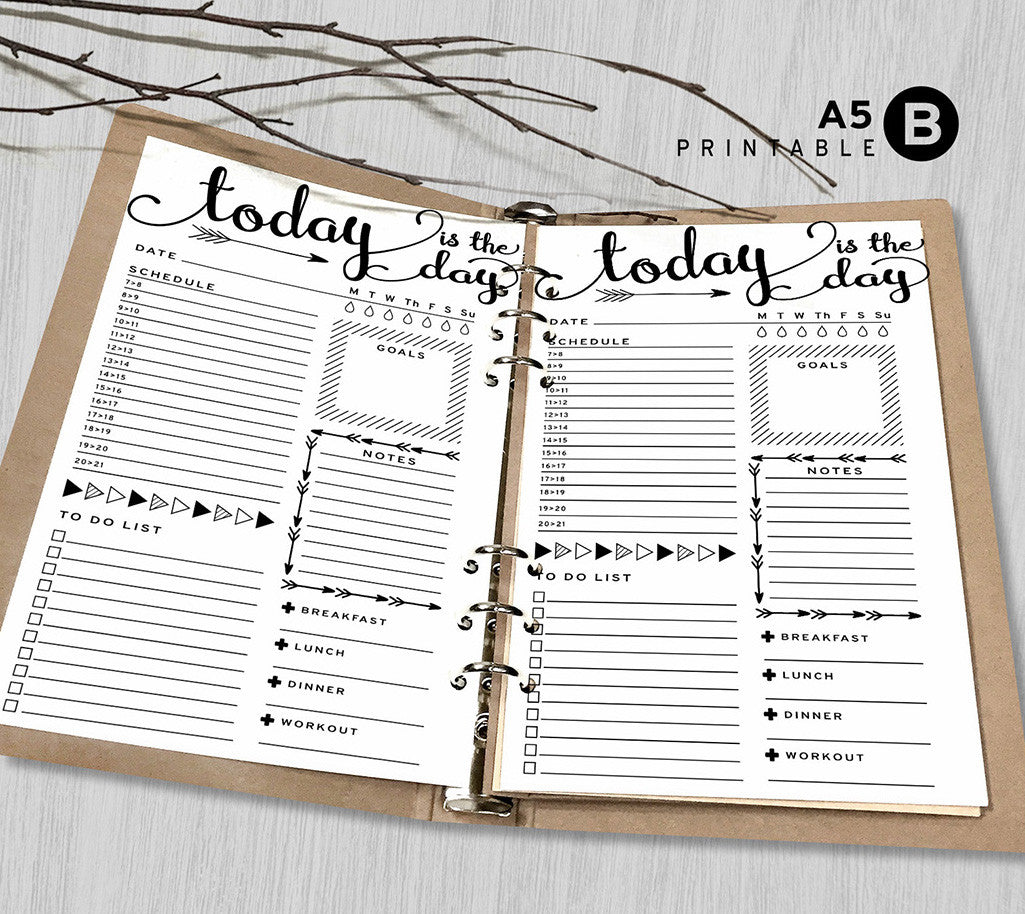 Printable Arrows A5 Daily Planner Inserts, A5 Binder