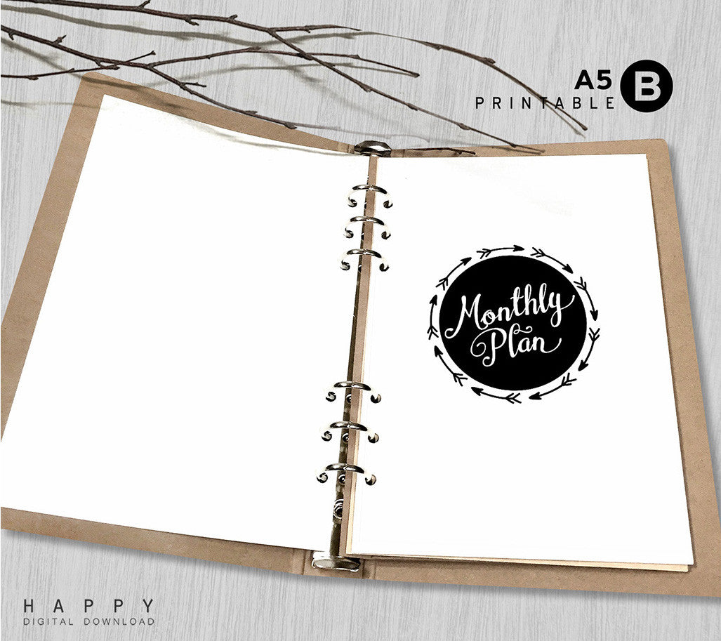graphic regarding A5 Planner Printable referred to as Printable Arrows A5 Month-to-month Planner Inserts, A5 Binder - Arrow