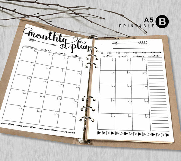Printable Arrows A5 Monthly Planner Inserts, A5 Binder ...