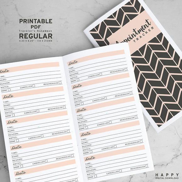 Printable Traveler's Notebook Appointment Tracker Insert - Regular TN