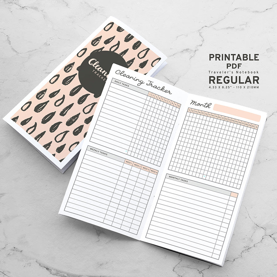 Printable Traveler's Notebook Cleaning Tracker Insert - Regular TN