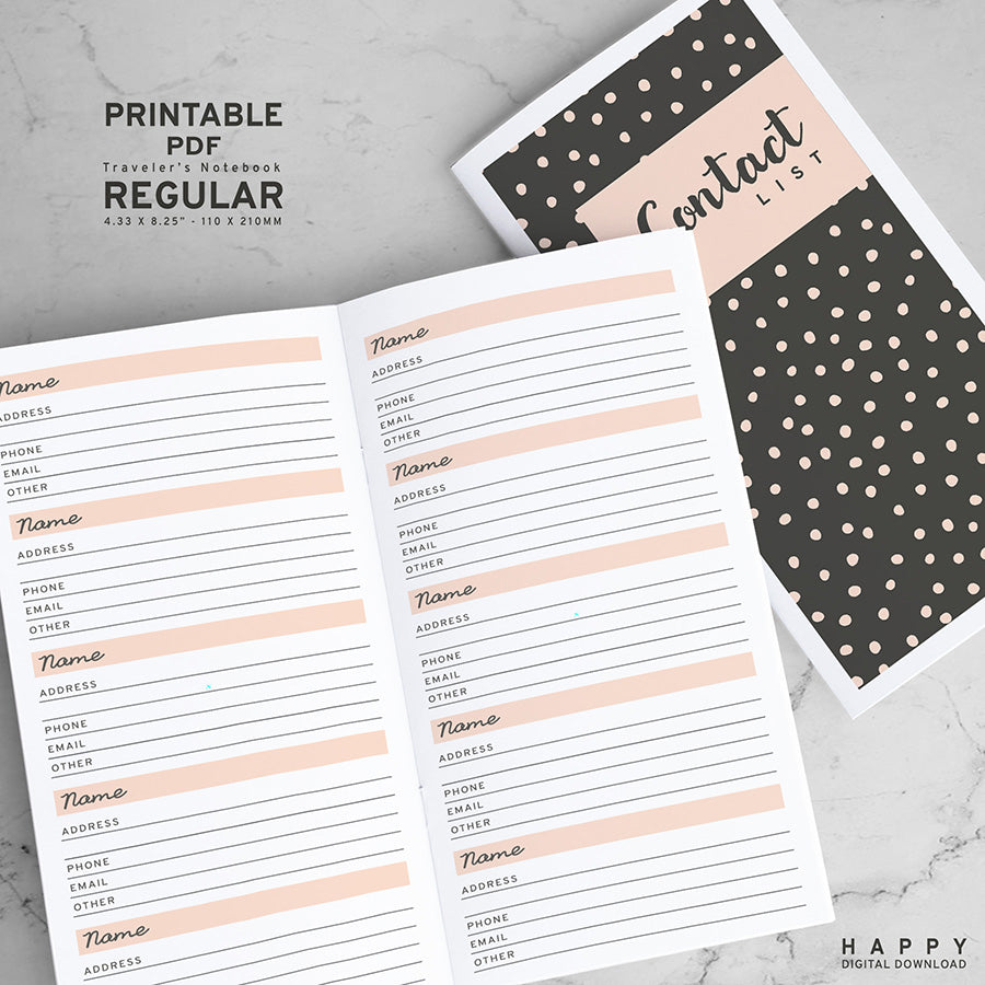 Printable Traveler's Notebook Contacts Insert - Regular TN
