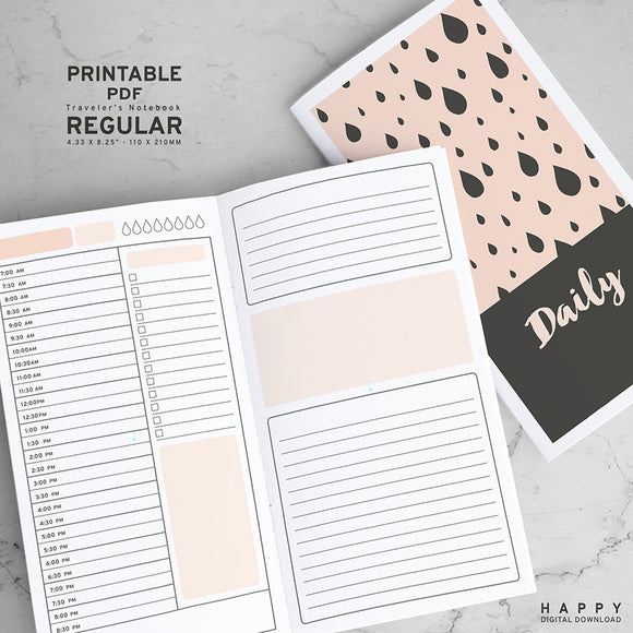 Printable Traveler's Notebook Daily Insert Basic - Regular TN