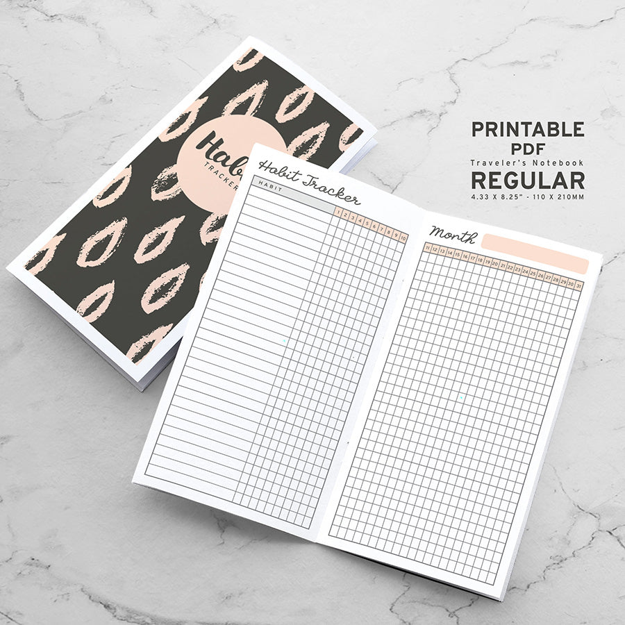 Printable Traveler's Notebook Habit Tracker Insert - Regular TN