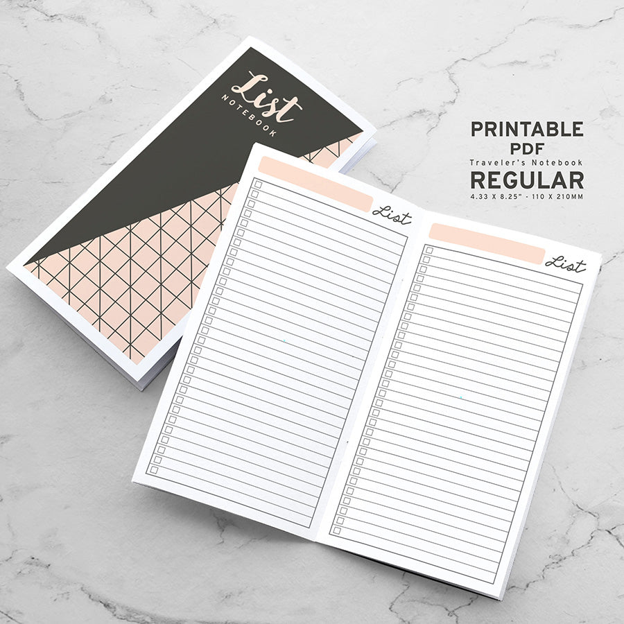Printable Traveler's Notebook List Insert - Regular TN