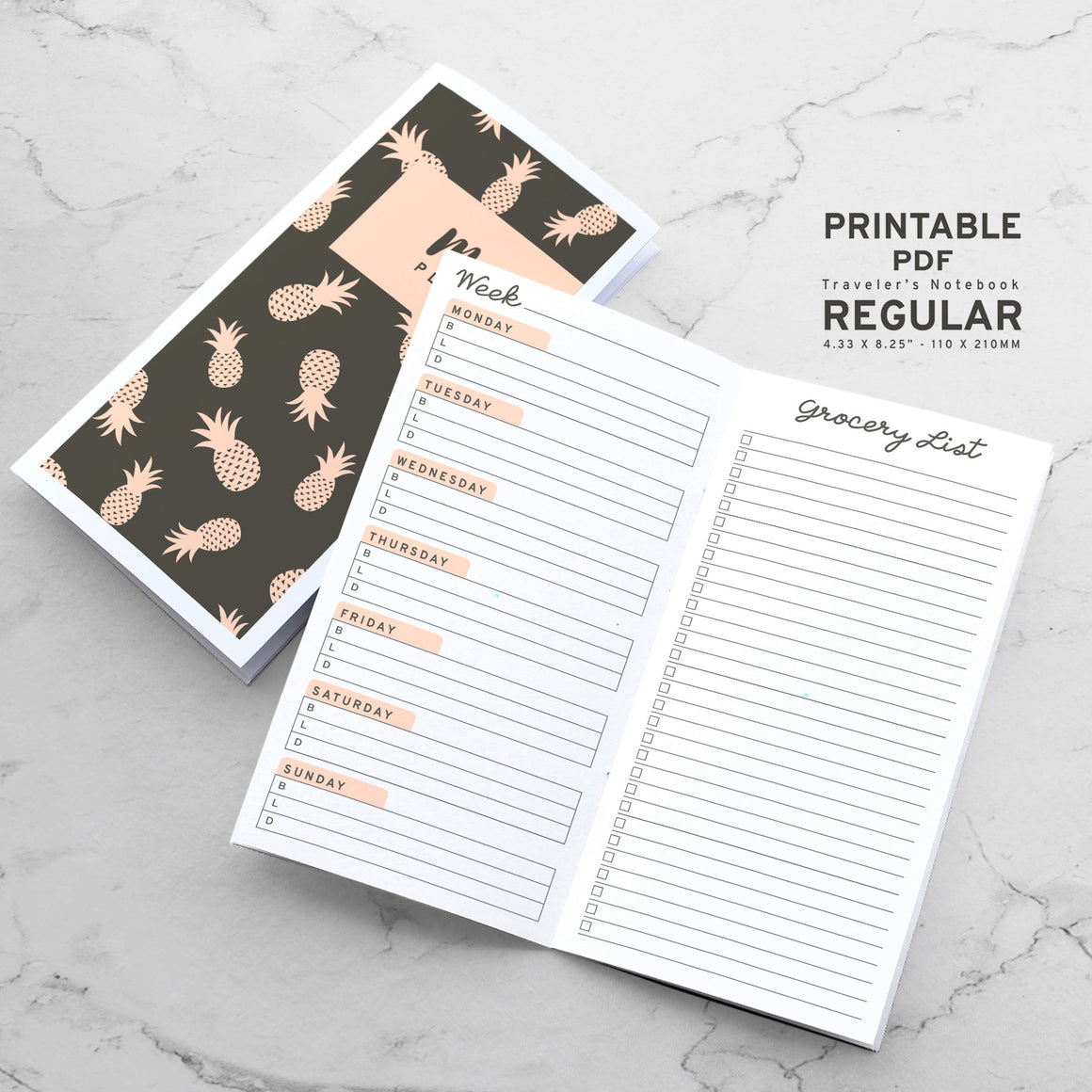 Printable Traveler's Notebook Meal Planner Insert - Regular TN
