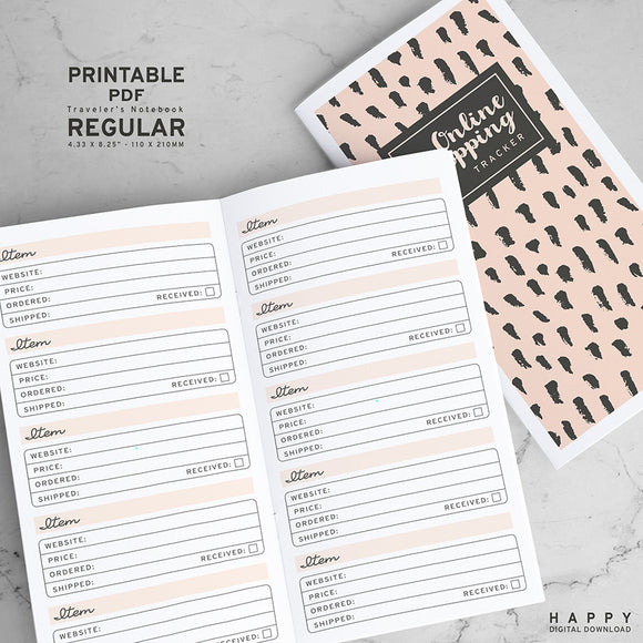 Printable Traveler's Notebook Online Shopping Tracker Insert - Regular TN