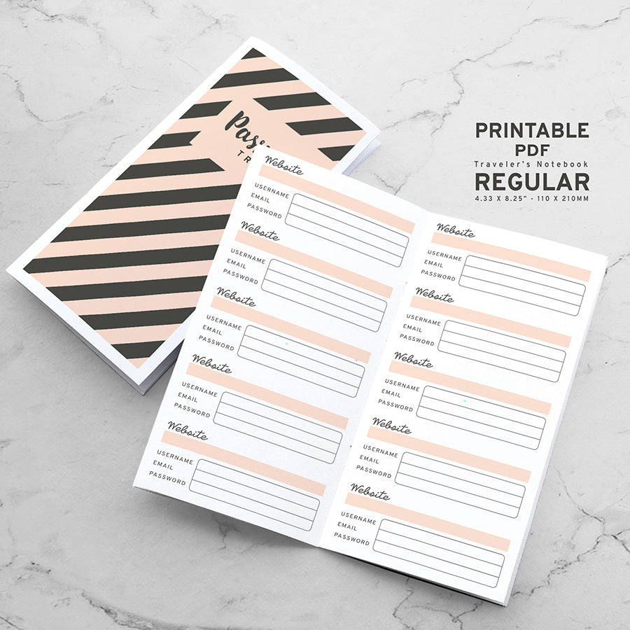 Printable Traveler's Notebook Password Tracker Insert - Regular TN