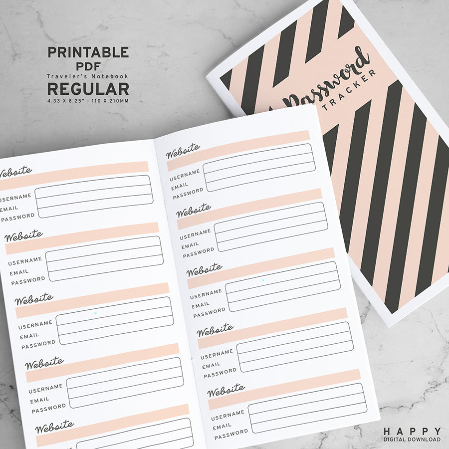 Printable Midori Password Tracker Inserts Traveler S Notebook