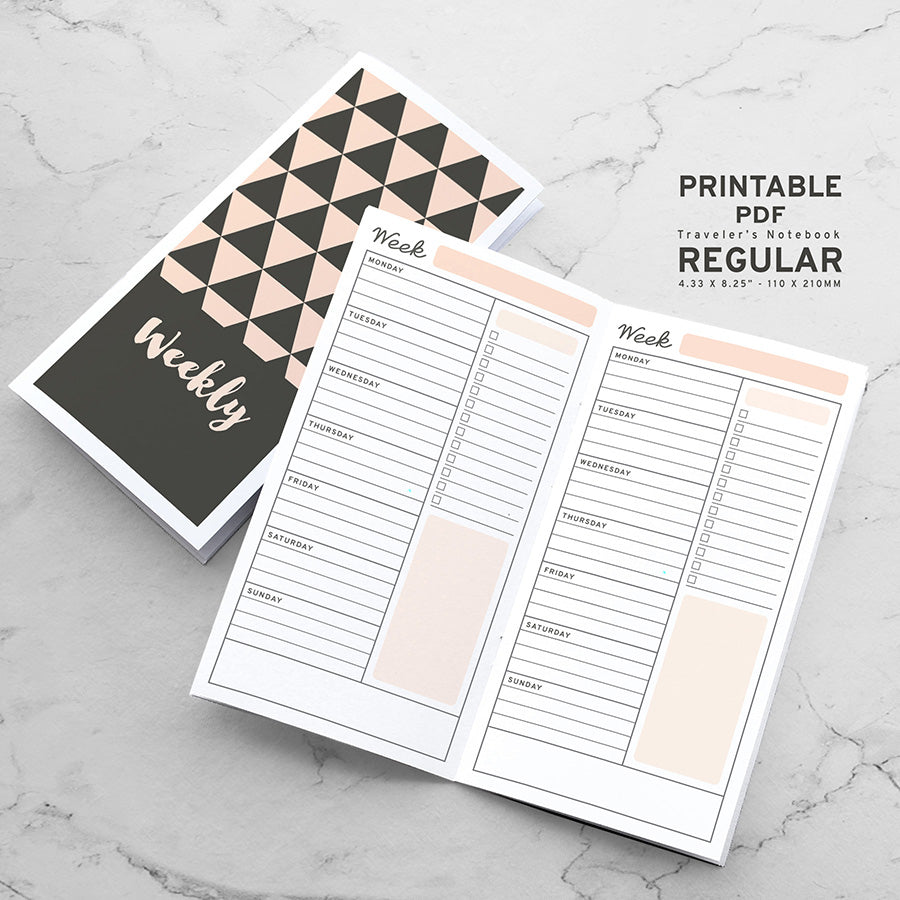 Printable Traveler's Notebook Weekly Plan Insert - Regular TN