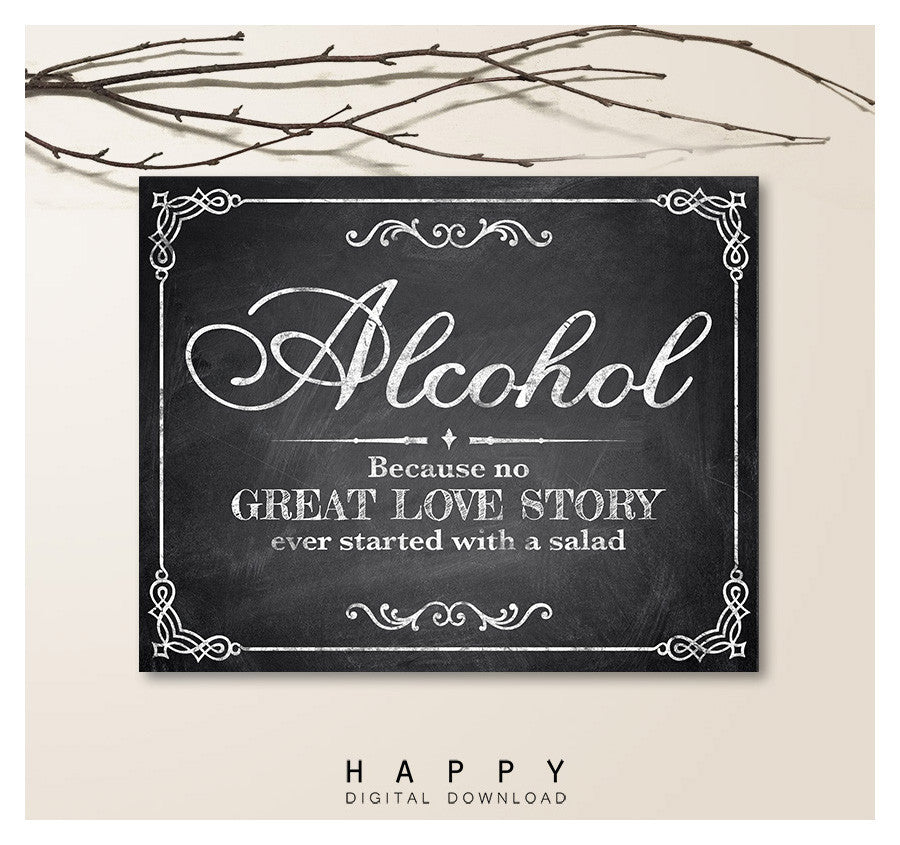 Printable Chalkboard - Alcohol Wedding Sign