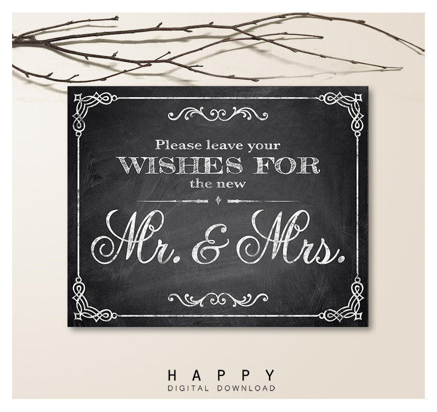 Printable Chalkboard - Wishes Wedding Sign