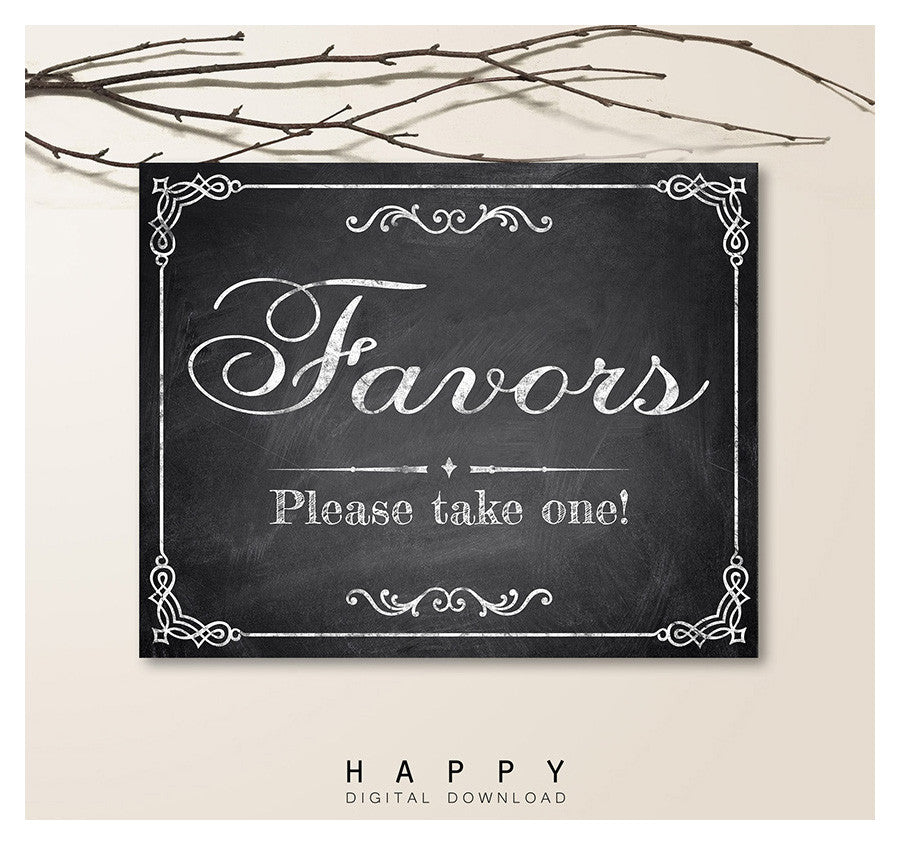 Printable Chalkboard - Favors Wedding Sign