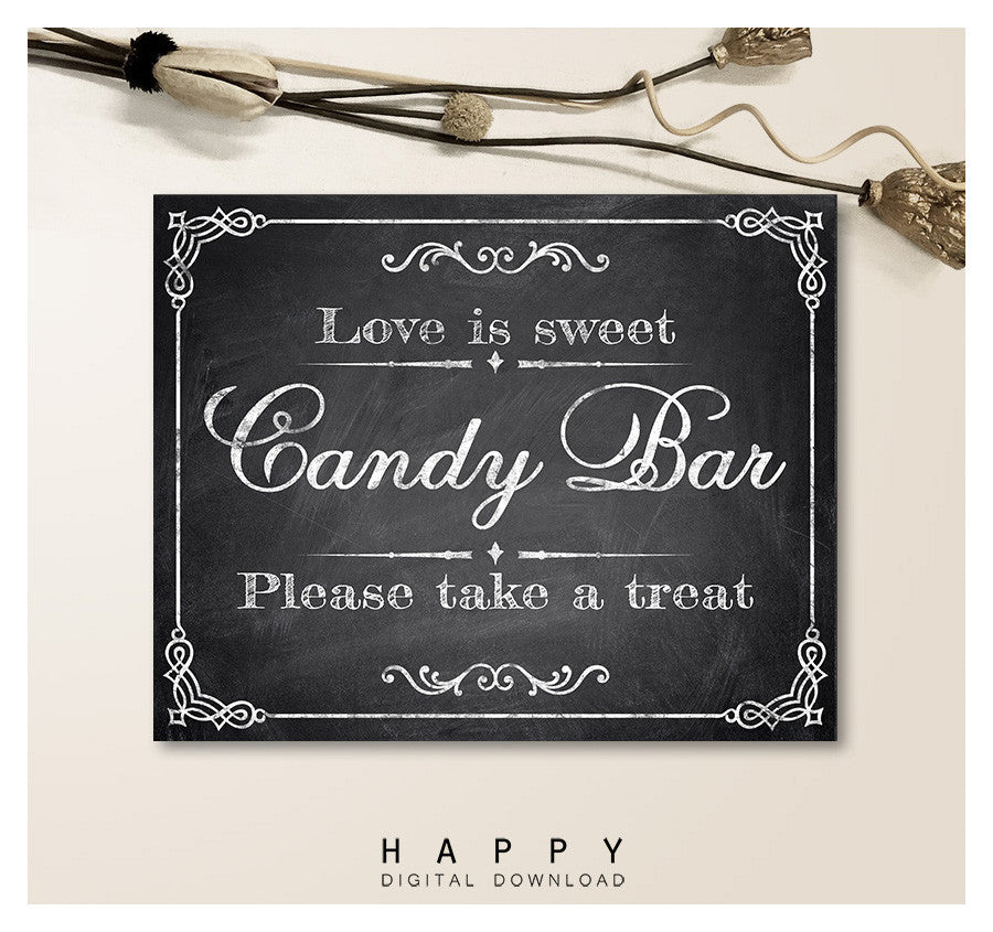 Printable Chalkboard - Candy Bar Wedding Sign