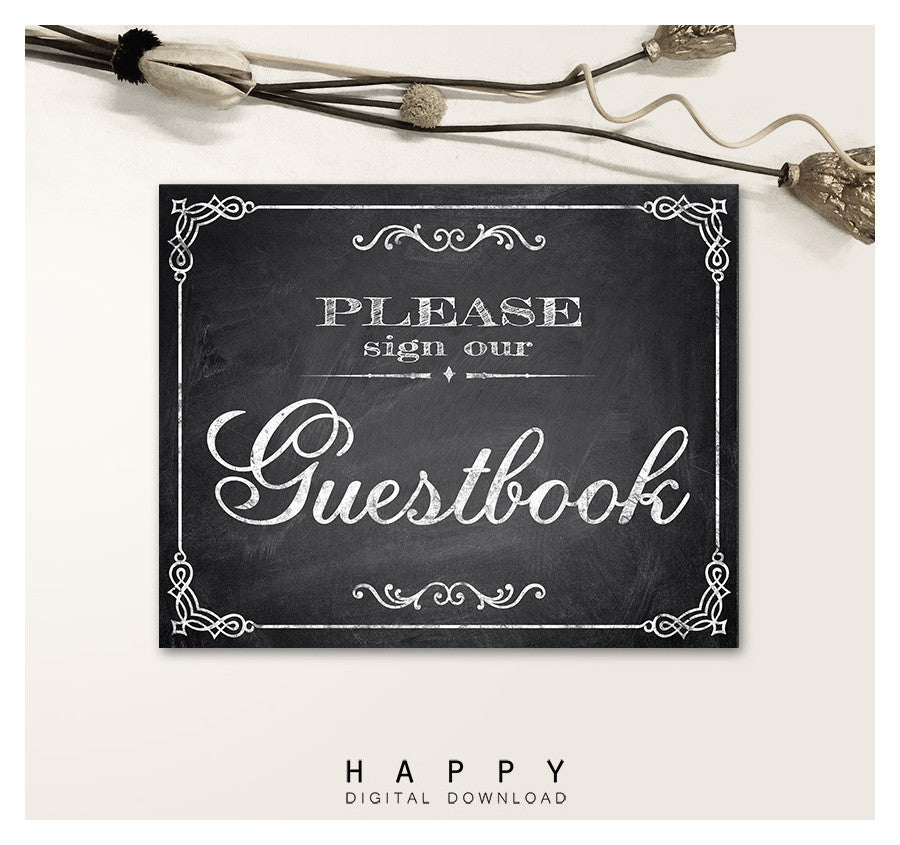 Printable Chalkboard - Guestbook Wedding Sign