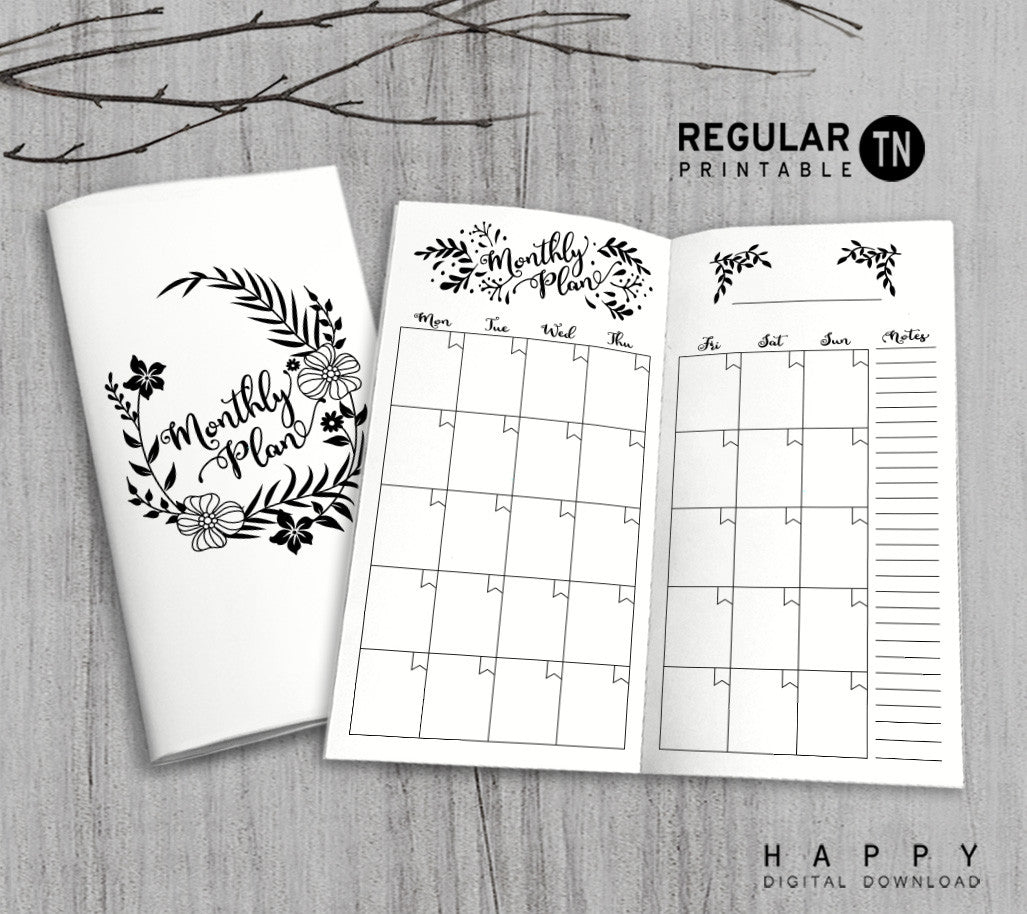 picture about Midori Traveler's Notebook Printable Inserts known as Printable Vacationers Laptop Regular monthly Increase - Month-to-month TN