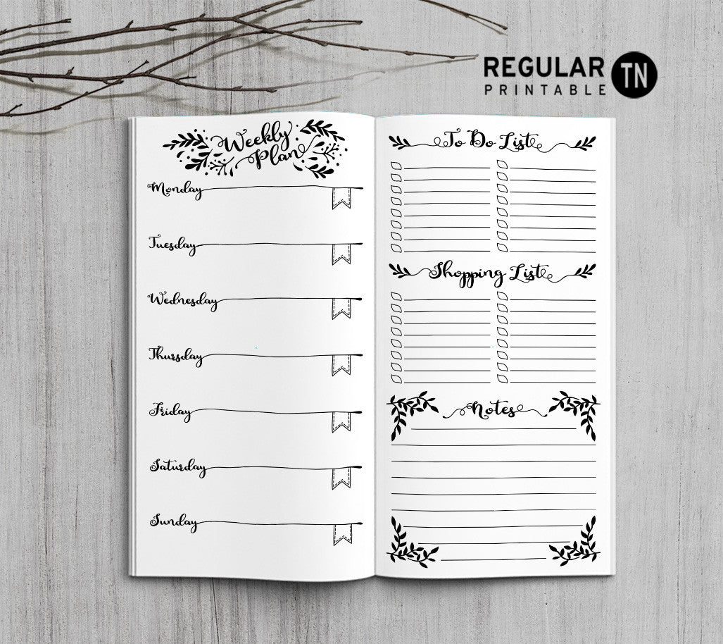 photograph relating to Midori Traveler's Notebook Printable Inserts identified as Printable Travellers Laptop Weekly Increase - Monthly TN