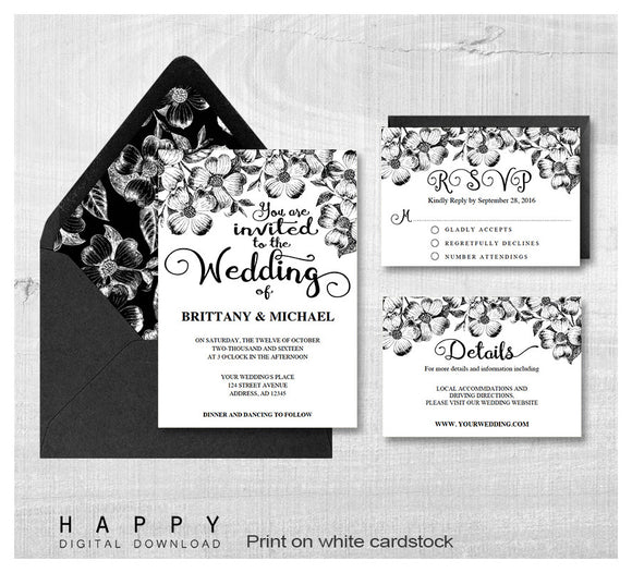 Rustic Florals - Wedding Invitation Bundle - 3pcs