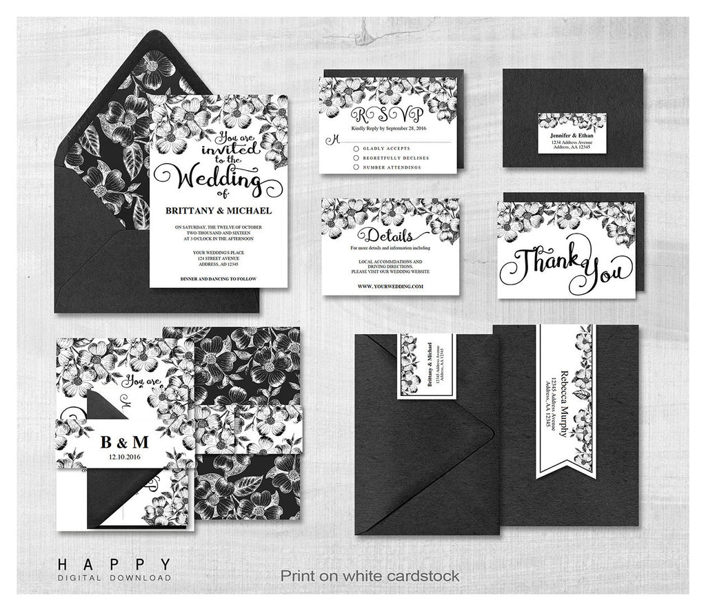 Rustic Florals - Wedding Invitation Bundle