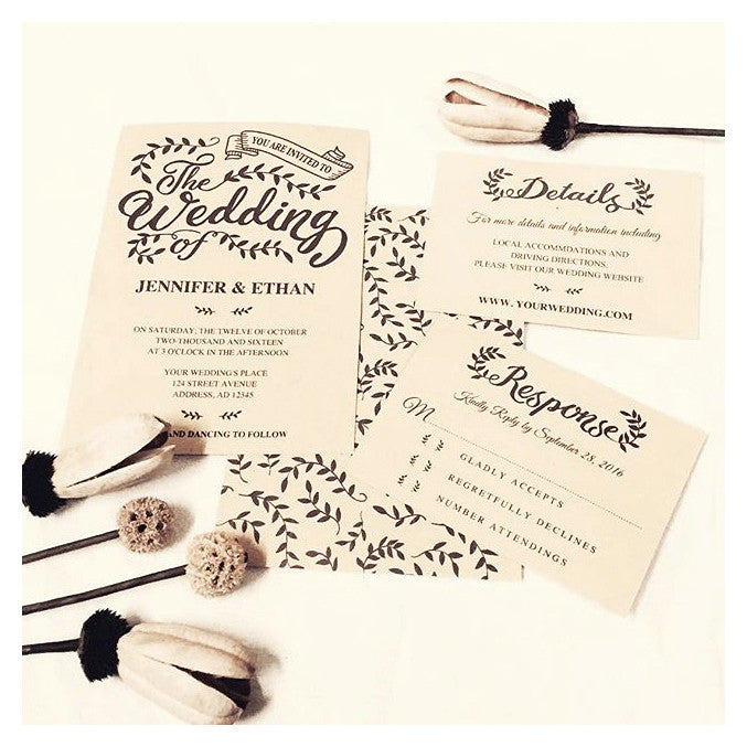 Rustic Leaves - Wedding Invitation Bundle - 3pcs