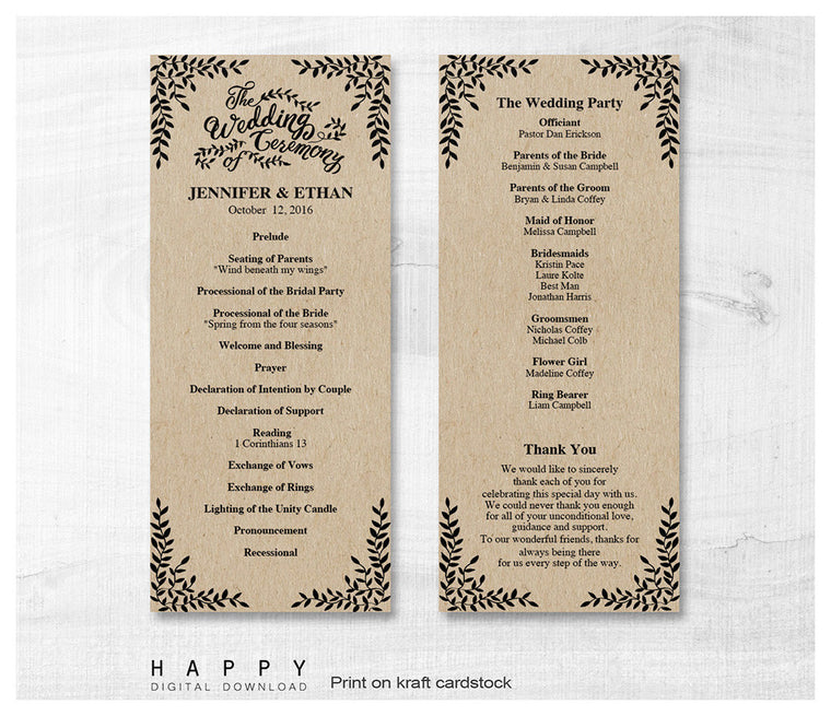 Rustic Leaves - Ceremony Program templates