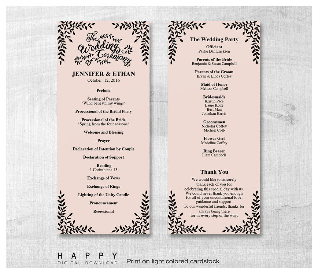 Ceremony Program Templates