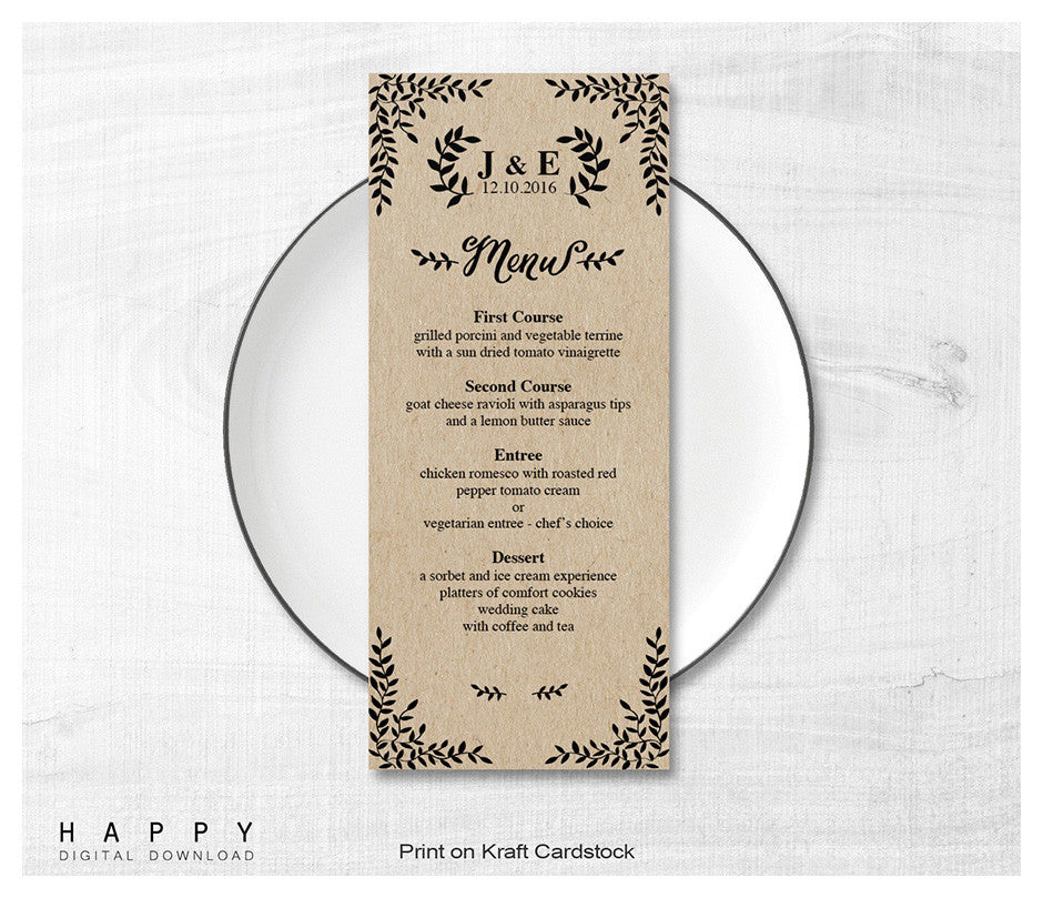 rustic leaves wedding menu template happy digital download