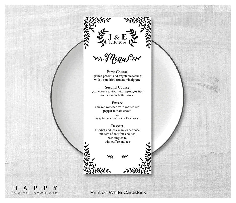 Rustic Leaves - Wedding Menu template