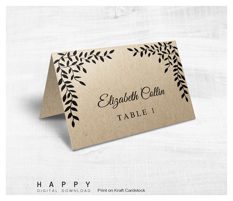 Rustic Leaves Place Cards template