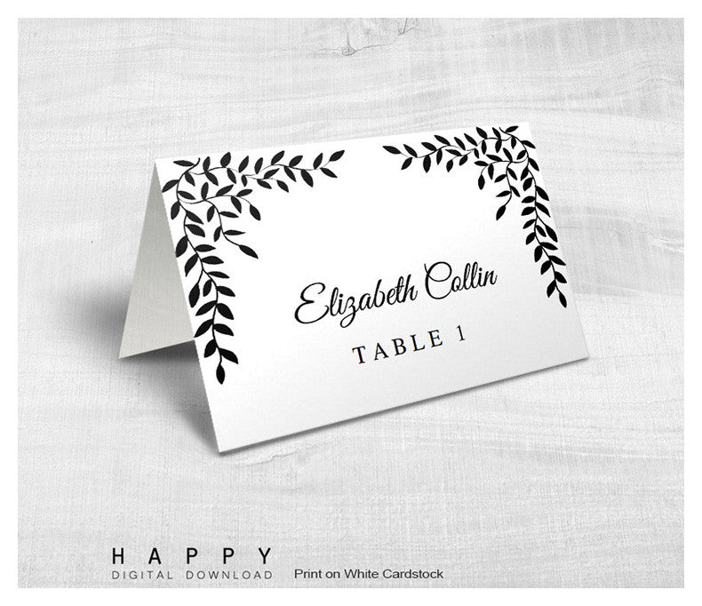 Rustic Leaves - Place Cards template