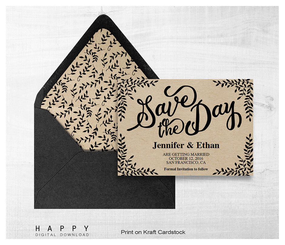 rustic leaves save the date template happy digital download