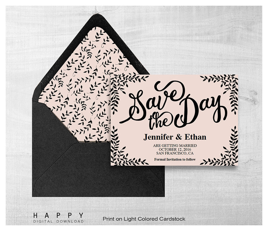 Rustic Leaves - Save the date template - Happy Digital Download
