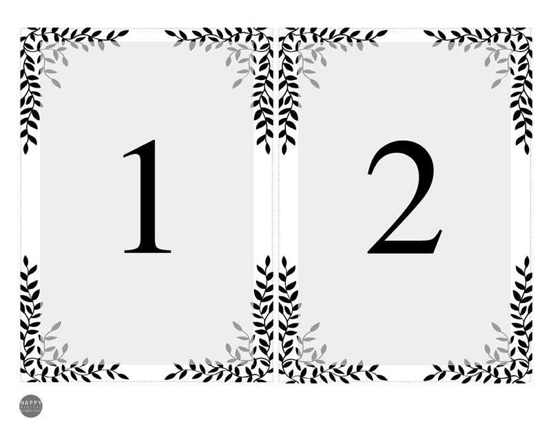 Rustic Leaves - Table Numbers template