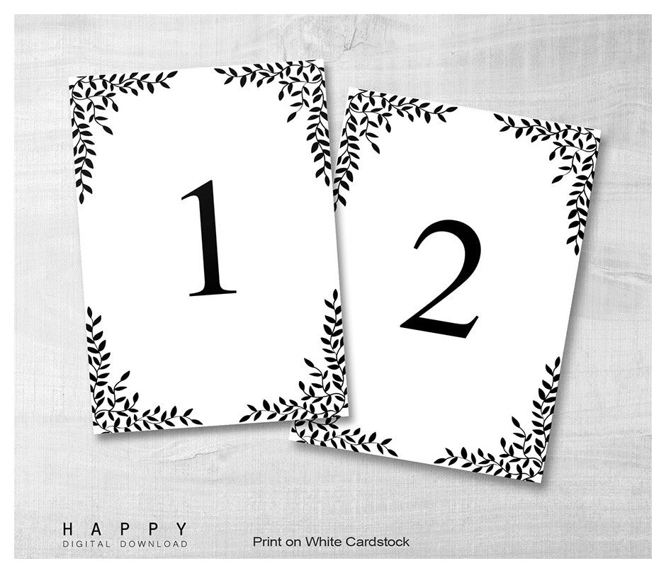 rustic leaves table numbers template happy digital download