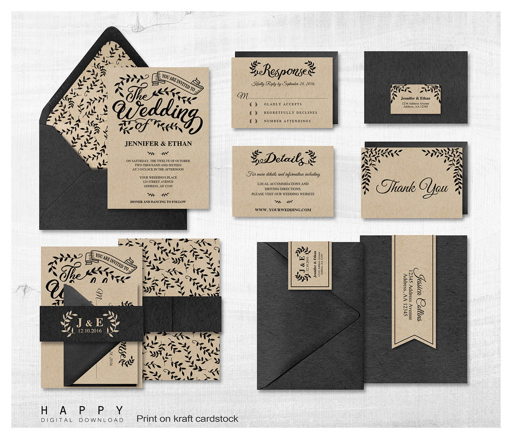 Rustic Leaves - Wedding Invitation Bundle