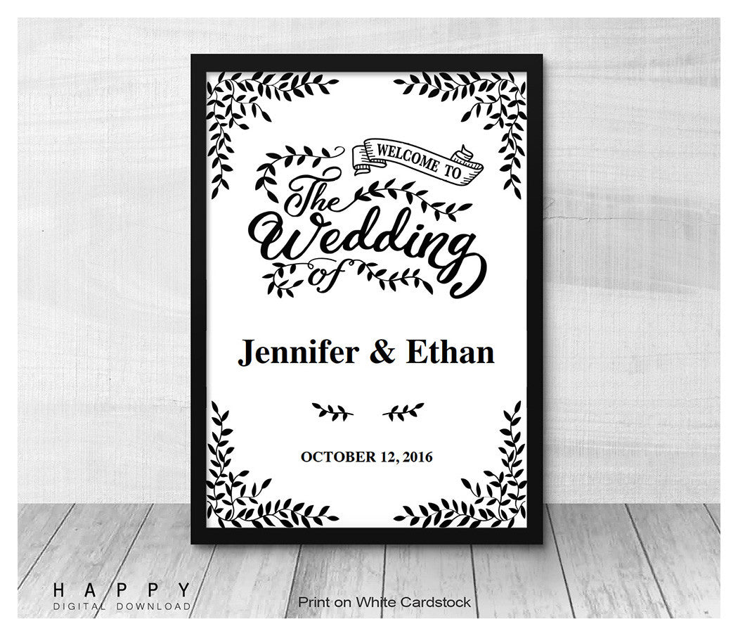 Free Wedding Sign Templates: Happy Digital Download
