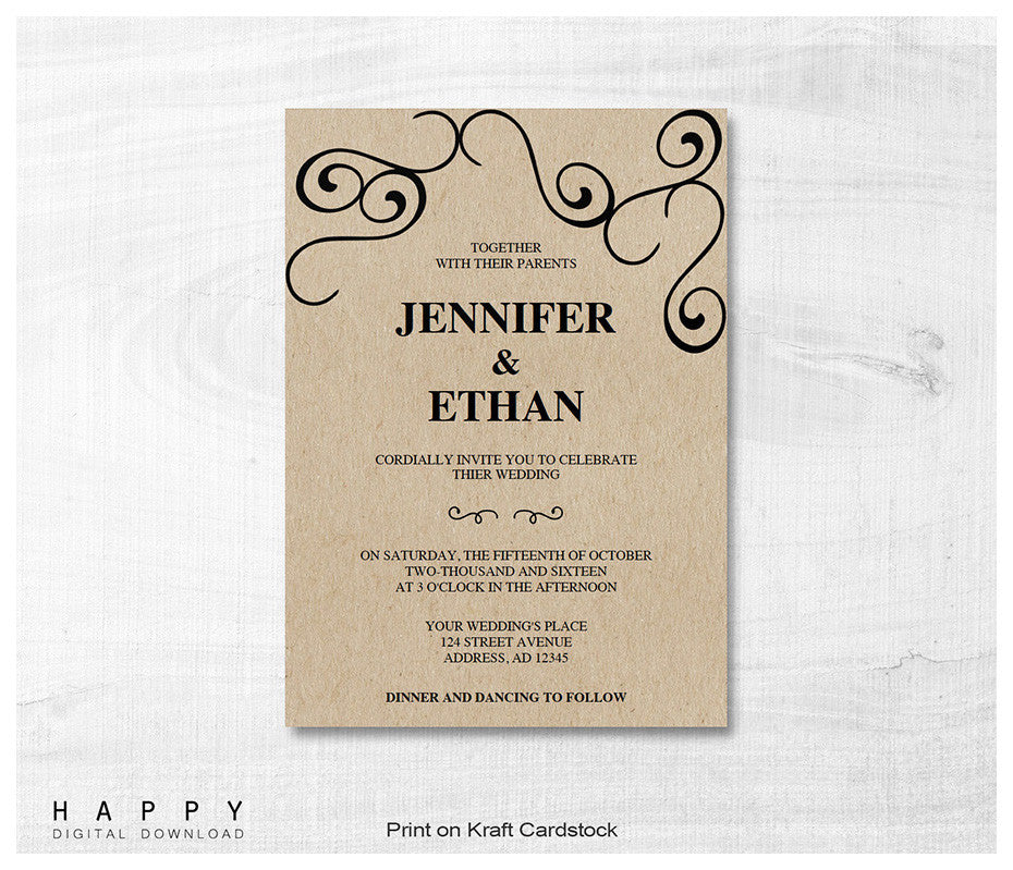 Free Printable Wedding Invitation