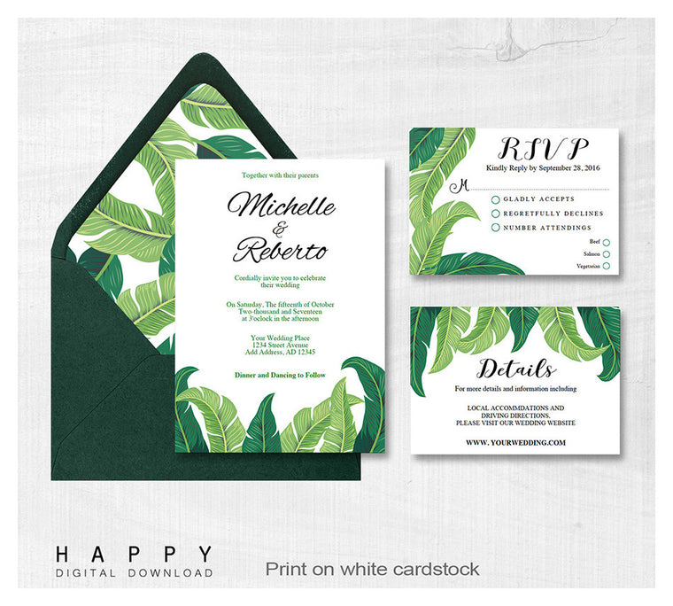 Tropical Leaves - Wedding Invitation Bundle - 3pcs