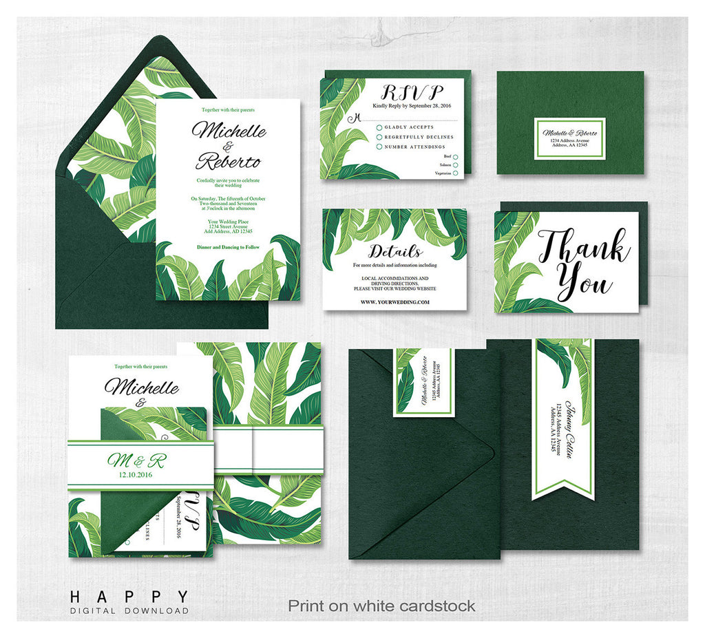 Tropical Leaves - Wedding Invitation Bundle