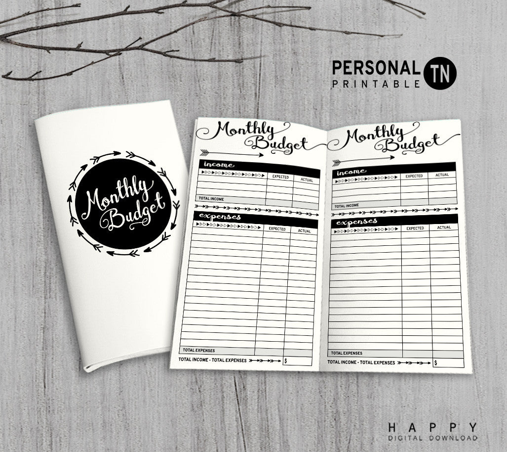 Printable Traveler's Notebook Monthly Budget Insert - Personal TN - Arrow